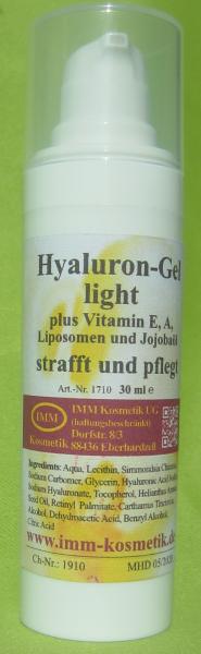 Hyaluron-Gel light und Vitamin E, A, Liposomen und Jojobaöl